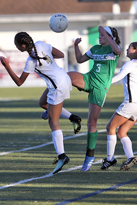 Reese Beggs (center) from Brick gets the ball away from two Hopewell Valley defenders as Brick Township High School hosted Hopewell Valley High School in the NJSIAA Central Jersey Group III Girls Soccer Championship at the Drum Point Sports Complex in Brick Township on Saturday November 10, 2018. (MARK R. SULLIVAN/THE OCEAN STAR)