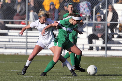 Charlotte Hare (left) from Hopewell Valley battles with Brick's Abby Kennelly (right) as Brick Township High School hosted Hopewell Valley High School in the NJSIAA Central Jersey Group III Girls Soccer Championship at the Drum Point Sports Complex in Brick Township on Saturday November 10, 2018. (MARK R. SULLIVAN/THE OCEAN STAR)