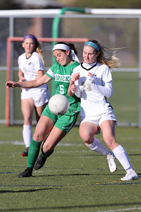 Abby Kennelly (left) from Brick battles with Hopewell Valley's Madeline Ellis as Brick Township High School hosted Hopewell Valley High School in the NJSIAA Central Jersey Group III Girls Soccer Championship at the Drum Point Sports Complex in Brick Township on Saturday November 10, 2018. (MARK R. SULLIVAN/THE OCEAN STAR)