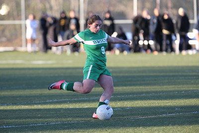 Danielle Christ takes the penalty shot as Brick Township High School hosted Hopewell Valley High School in the NJSIAA Central Jersey Group III Girls Soccer Championship at the Drum Point Sports Complex in Brick Township on Saturday November 10, 2018. (MARK R. SULLIVAN/THE OCEAN STAR)