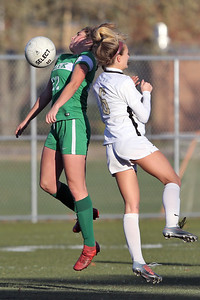 Tierney Garkowski (left) from Brick gets the ball under control as Brick Township High School hosted Hopewell Valley High School in the NJSIAA Central Jersey Group III Girls Soccer Championship at the Drum Point Sports Complex in Brick Township on Saturday November 10, 2018. (MARK R. SULLIVAN/THE OCEAN STAR)