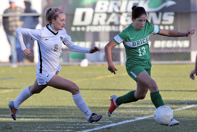 Gianna Ferigne (right) from Brick gets past Hopewell Valley's Molly O'Brien (left) as Brick Township High School hosted Hopewell Valley High School in the NJSIAA Central Jersey Group III Girls Soccer Championship at the Drum Point Sports Complex in Brick Township on Saturday November 10, 2018. (MARK R. SULLIVAN/THE OCEAN STAR)