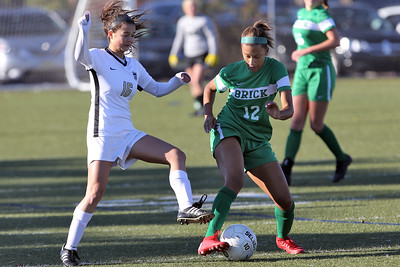 Erika Cameron (right) from Brick battles with Hopewell Valley's Ava Tillman as Brick Township High School hosted Hopewell Valley High School in the NJSIAA Central Jersey Group III Girls Soccer Championship at the Drum Point Sports Complex in Brick Township on Saturday November 10, 2018. (MARK R. SULLIVAN/THE OCEAN STAR)