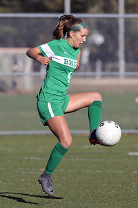 Alayna Gaydos from Brick goes up on her toes to keep control of the ball as Brick Township High School hosted Hopewell Valley High School in the NJSIAA Central Jersey Group III Girls Soccer Championship at the Drum Point Sports Complex in Brick Township on Saturday November 10, 2018. (MARK R. SULLIVAN/THE OCEAN STAR)