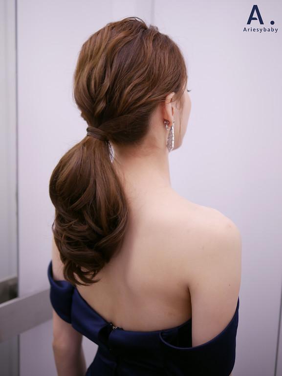 台北新秘,清透妝感,俐落馬尾,送客造型