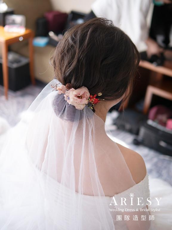 自然清透新娘妝感、新娘造型、編髮新娘髮型,新娘髮型,花藝造型,喜來登,白紗皇冠造型,名媛新娘造型