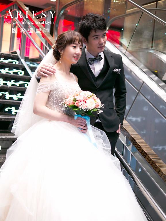 自然清透新娘妝感、新娘造型、編髮新娘髮型,新娘髮型,花藝造型