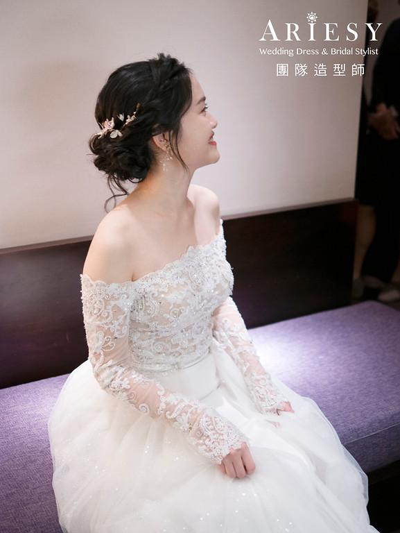 新娘秘書、黑髮新娘、單眼皮新娘、蓬鬆盤髮造型、自然輕透妝感