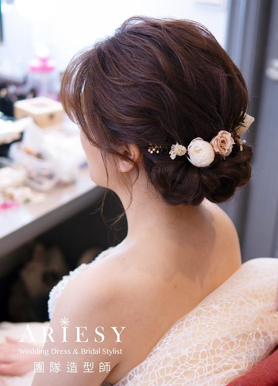 自然清透新娘妝感、新娘造型、韓系妝感、愛瑞思婚紗、花藝新秘造型、編髮造型