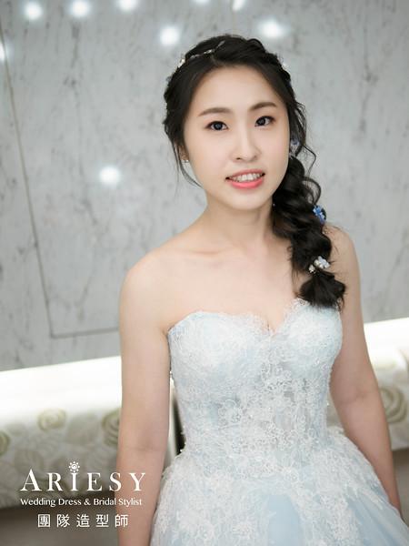 新娘秘書、皇冠新娘造型、蓬鬆低盤髮、黑髮新娘、單眼皮新娘