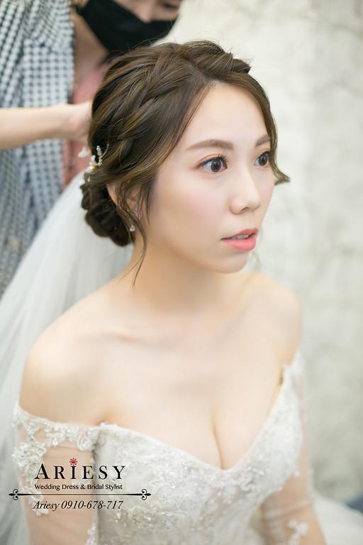 韓系新娘風格,韓風新娘造型,白紗盤髮新娘髮型,迎娶新娘造型