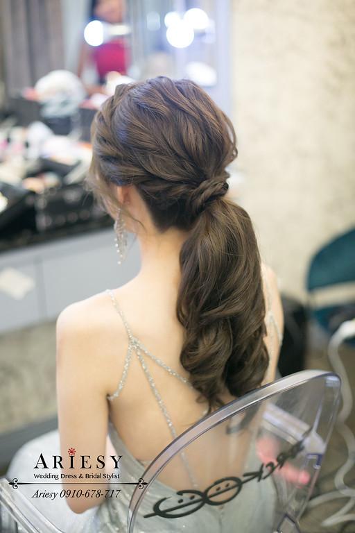 馬尾新娘造型,第九大道銀色禮服,敬酒新娘髮型,新娘秘書,新秘推薦,台北新秘