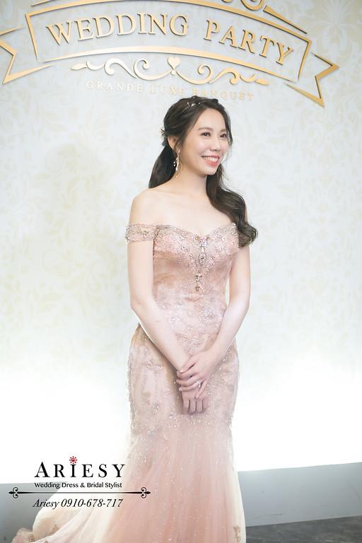 送客新娘造型,新娘秘書,新秘推薦,第九大道婚紗,粉色魚尾禮服新娘造型