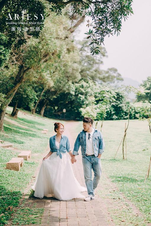 自然清新,牛仔風格,滬尾公園,蓬鬆線條,婚紗包套