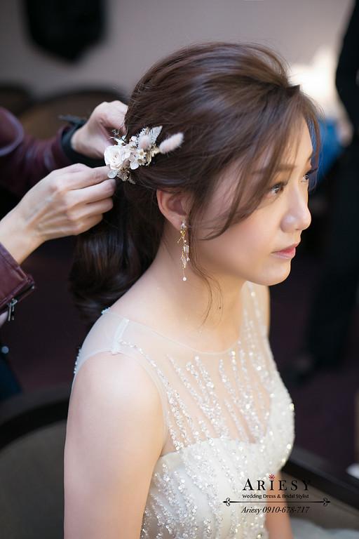清透妝感,氣質新娘造型,編髮新娘造型,ariesy,敬酒馬尾造型