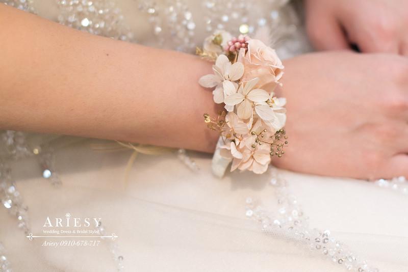 清透妝感,氣質新娘造型,編髮新娘造型,ariesy,手腕花
