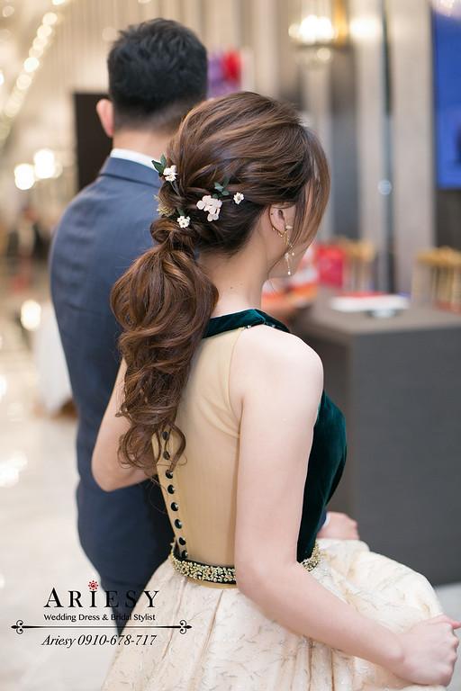 鮮花新娘髮型,愛瑞思,ariesy,編髮馬尾造型,新秘推薦,敬酒造型