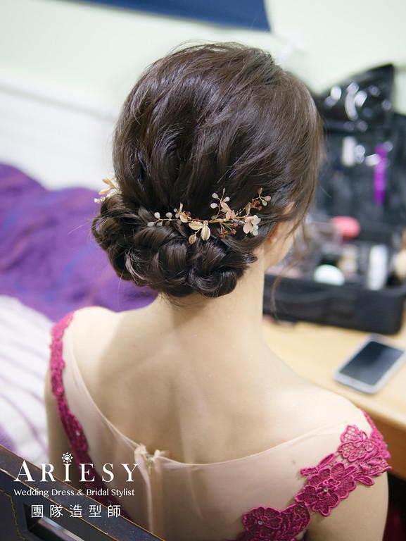新娘造型、蓬鬆編髮、新娘髮型、自然清透妝感、細軟髮新娘、宴客造型