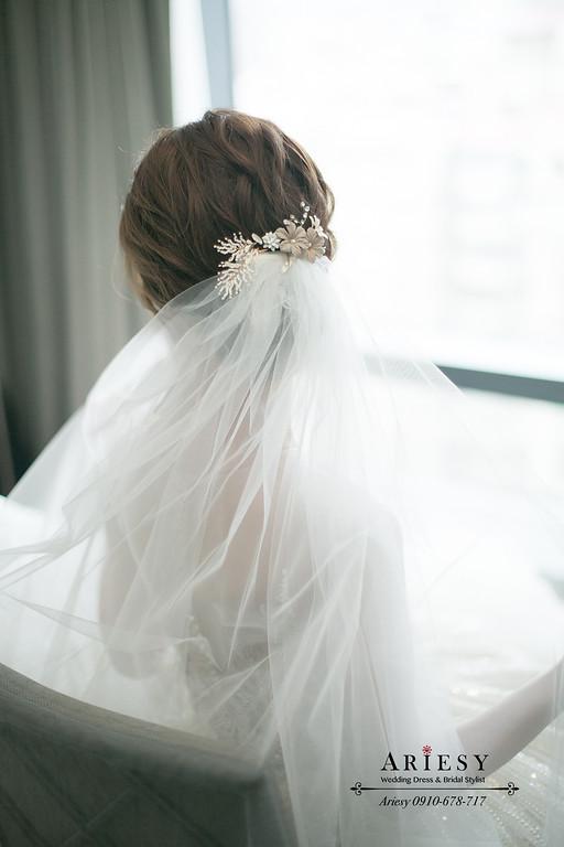 萬豪酒店文定,新秘推薦,愛瑞思,ARIESY,迎娶白紗造型,美式新娘造型