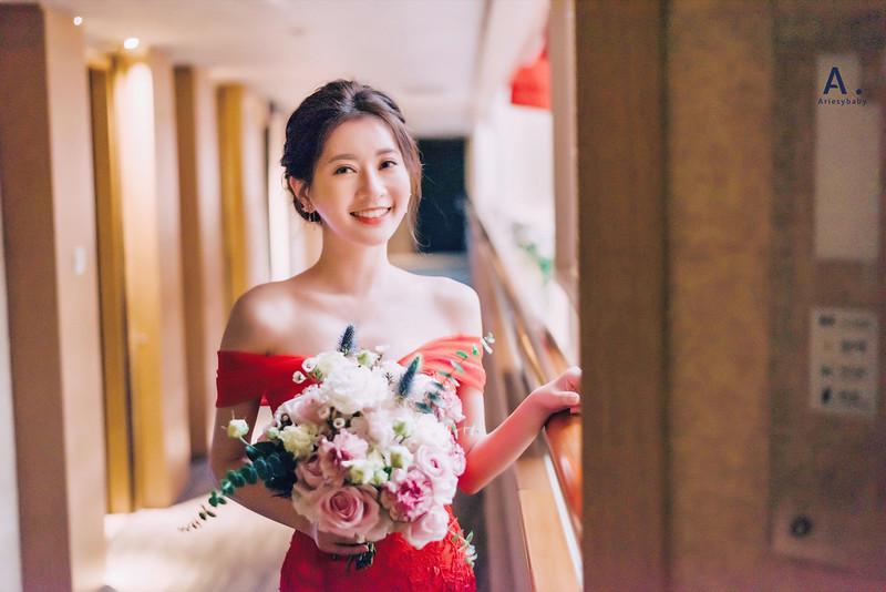 北部新秘,新娘秘書,紅色禮服造型,歐美妝容,編髮造型,翰品酒店