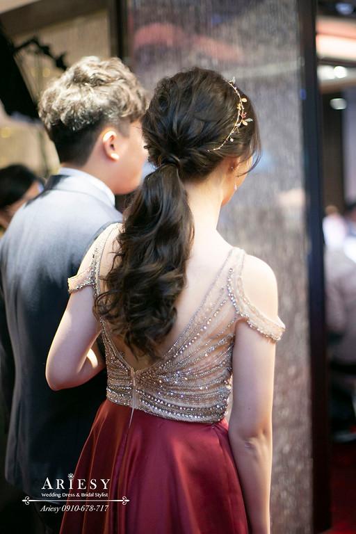 敬酒時尚名媛新娘造型,深色新娘髮色馬尾造型,台北萬怡婚宴,台北新秘,ariesy,愛瑞思