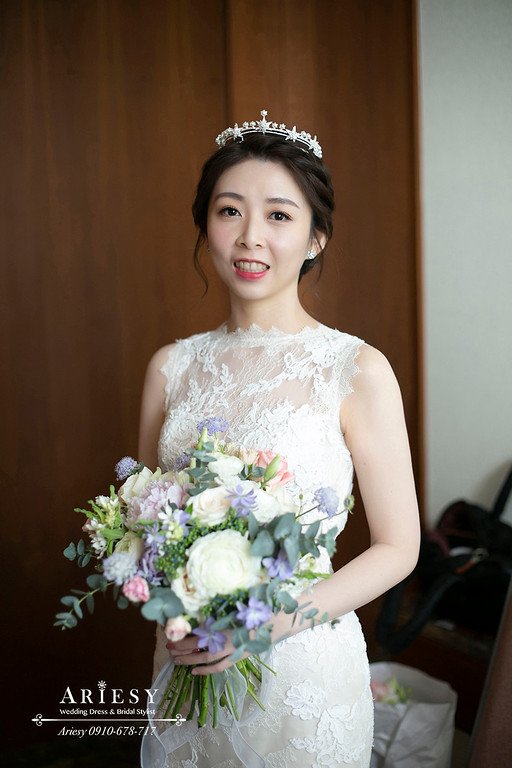 韓系風格新娘造型,深色新娘髮色白紗造型,台北萬怡婚宴,台北新秘,ariesy,愛瑞思