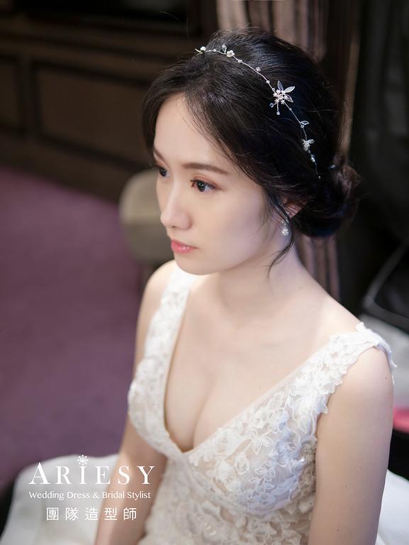 自然清透新娘妝感、新娘造型、韓系妝感、黑髮新娘、台中新秘、美式盤髮