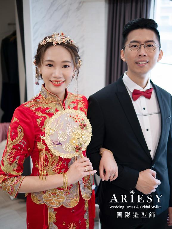 自然清透新娘妝感、新娘造型、韓系妝感、花藝新秘造型、編髮造型、龍鳳掛、中式新娘