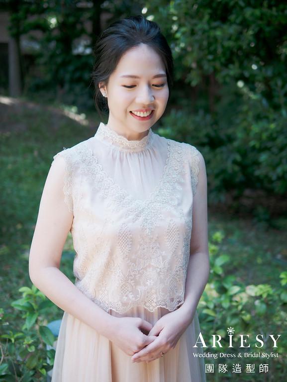 新娘秘書、短髮新娘、黑髮新娘造型、蓬鬆盤髮造型、自然輕透