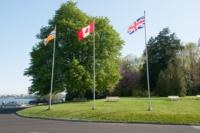 Flags at Prospect Point in Stanley Park.Vancouver B.C.