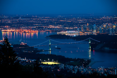 Downtown- Vancouver at Night-Lions Gate Bridge