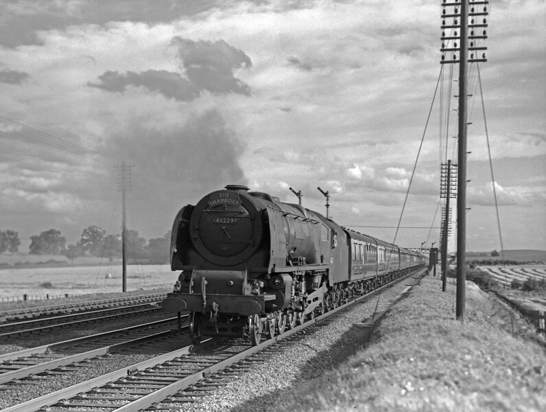46229 Duchess of Hamilton with the down Shamrock near Berkhamsted (early 1950s).