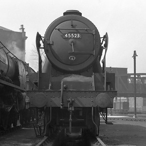 This picture nearly didn't make it onto the website:  it was a deeply damaged negative and had to be severely cropped!  It shows Patriot class 45523 Bangor just outside the north end of the main shed in April 1955.