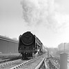 """A particularly """"dramatic"""" picture of 70033 Charles Dickens nearing the top of Camden Bank at the head of a down express.  The date is uncertain but this is another quarter plate negative and it was most likely taken during the Railway Photographic Society visit of April 1953."""