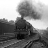 46111 Royal Fusilier climbing Camden Bank with a down Manchester express.  This shot is undated but is likely April 1953 on the occasion of a Railway Photographic Society visit.  A slightly more three-quarter view of what is clearly the same train at more or less the same time by John Ashman F.R.P.S. has been published in the Rail Portfolio of 1988 complied by Mike Esau.