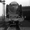 """A few moments later than the previous shot, 46236 City of Bradford stands ready to back down to Euston from Camden in October 1957.  Indeed one hopes the engine was about to back away as the photographer was clearly standing only a few feet in front of it and would have been invisible to the driver!  This shot only emphasises the size and power of the """"Duchesses""""."""