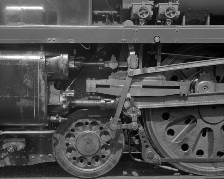 A close up of the motion of modified Merchant Navy 35018 British India Line on 5 May 1956.