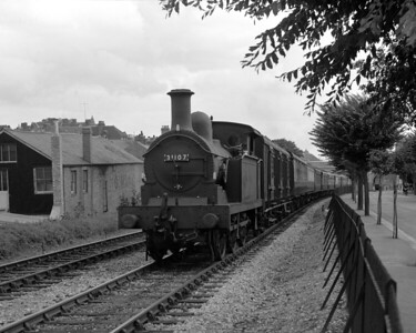 This is another shot of the Golden Arrow climbing the Tramway from Folkestone Harbour.  On this occasion the train is headed by R1 class 31107 and the picture was probably taken in the summer of 1956.