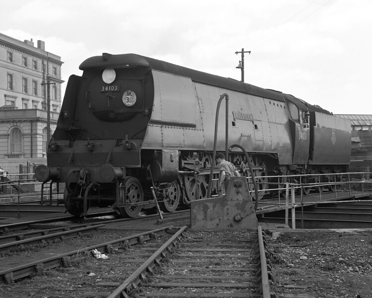 West Country class 34103 Calstock on the turntable at Dover MPD in summer  1956.