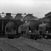 A line up of locomotives at Bournemouth MPD on 16 August 1955.  From left to right:  30764 Sir Gawain, 30861 Lord Anson, 30862 Lord Collingwood and 30796 Sir Dodinas le Savage.