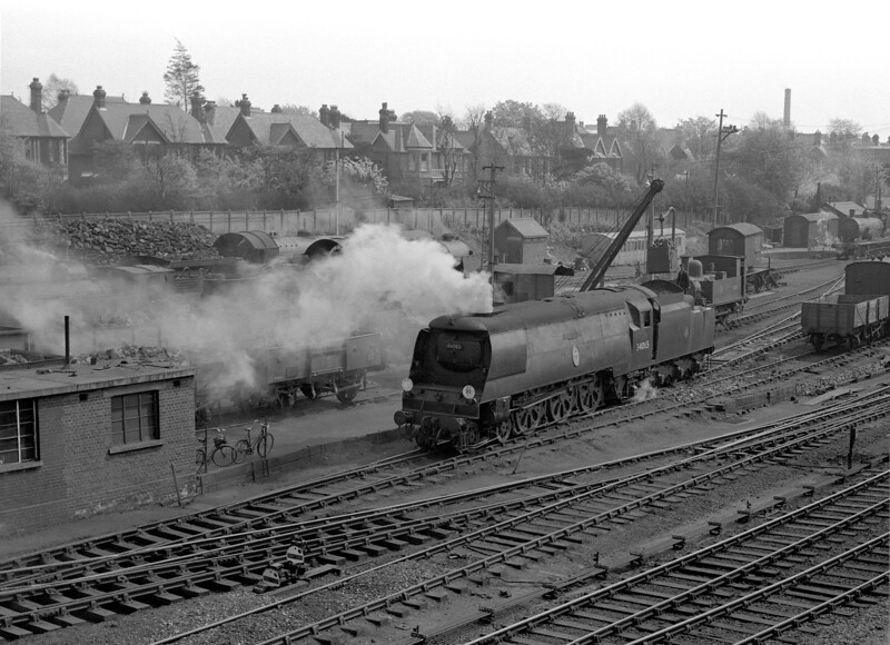 A general view of Bournemouth MPD taken from the signal box in the early 1950s which features 34065 Hurricane coaling by crane.  This isn't a great work of art but may provide useful information.
