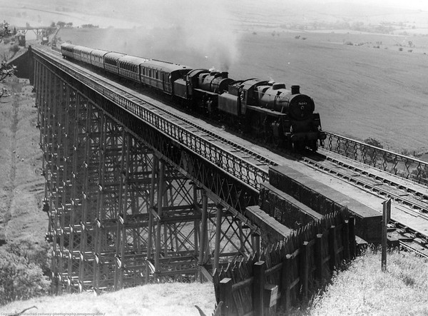 76045 + 43### Belah Viaduct - Stainmore Railway with a Blackpool Newcastle working Viaduct 196 feet high and about 1,000 feet long demolished in 1962.