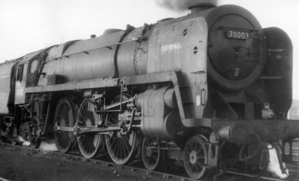 70003 minus 'John Bunyan' plates Kirkby shed c1966