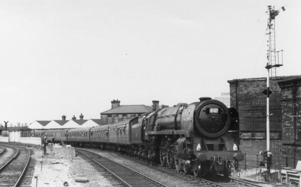 "70013 Oliver Cromwell  passing Miles Platting heading toward Ashton Moss Jct with 1Z95 British Rail (Scottish Region) ""Grand Rail Tour No. 5"" 1st June 1968"
