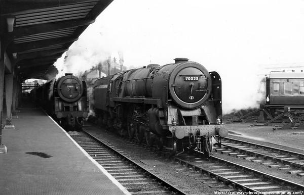 70023 Venus (r) on a Windermere-Manchester service passes 70011 Hotspur (l) on a Carlisle-Crewe service Preston 9-9-1965