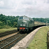An unidentified Warship Class D8xx heading a Wolverhampton to Penzance express up Dainton bank in August 1960.