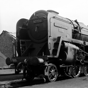 92220 Evening Star seen in the evening sun on Reading MPD c.1961.