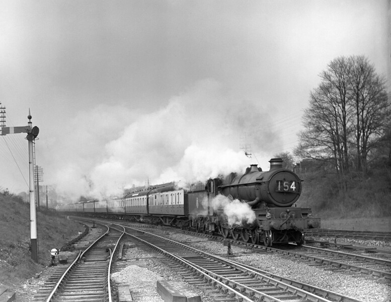 Another of the quarter plate shots, showing a slightly different perspective on the junction:  perhaps taken from a wagon parked in the siding?   An unidentified Castle seen on the 3.30pm ex-Paddington on 18 April 1953.