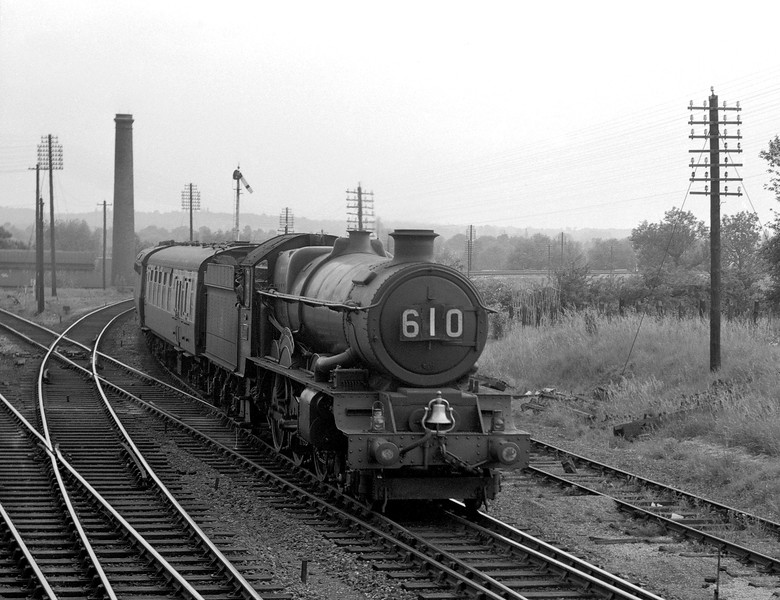 6000 King George V heads an up express from Plymouth past Southcote.  This shot was taken from the window of the signal box around May 1956.