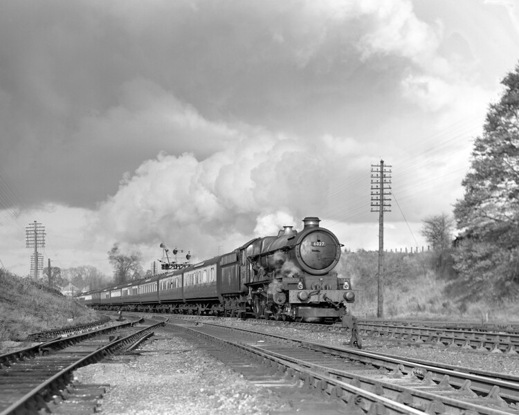 This is another King at Southcote.  This time the locomotive is 6027 King Richard I.  This quarter plate photograph was taken between the installation of the new bracket in February 1955 and the relaying of the Coley Branch junction in May 1956.